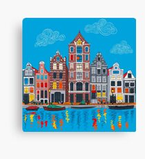 Amsterdam canal and houses Canvas Print