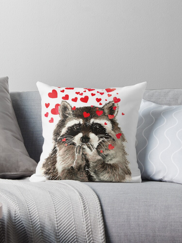 Cute Watercolor Raccoon Blowing Kisses & Hearts by countrymouse