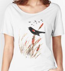 Watercolor Red Wing Blackbird Bird Nature Art Women's Relaxed Fit T-Shirt