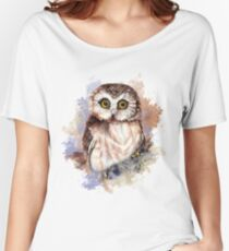 Watercolor Cute Owl Bird Women's Relaxed Fit T-Shirt