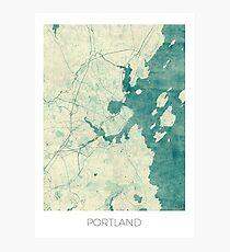 Portland Maine Map Blue Vintage Photographic Print