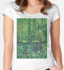1887-Vincent van Gogh-Trees and undergrowth Fitted Scoop T-Shirt