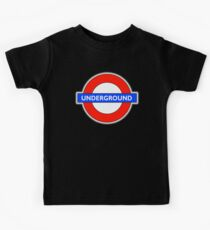 TUBE, UNDERGROUND, LONDON, ENGLAND, UK, BRITAIN, English, BRITISH, on BLACK Kids Tee