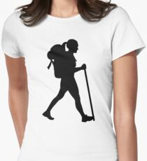 Hiking girl woman Womens Fitted T-Shirt
