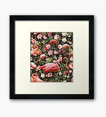 Floral and Flamingo Pattern Framed Print