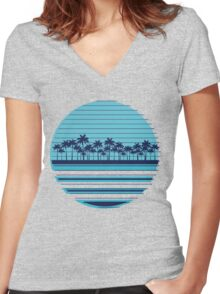 Palm trees blue beach Women's Fitted V-Neck T-Shirt