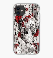 Melt down grunge rose skull iPhone Case
