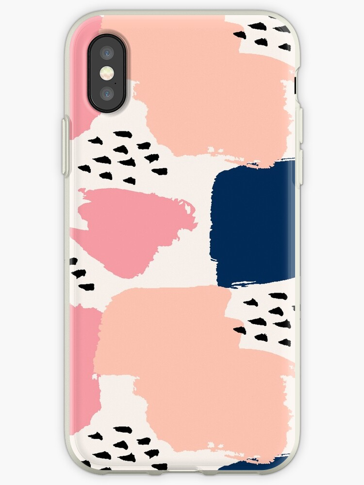 Pink, Navy and Black Abstract by Iveta Angelova