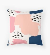 Pink, Navy and Black Abstract Throw Pillow