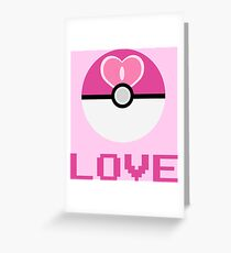 Love Ball Pokeball Greeting Card