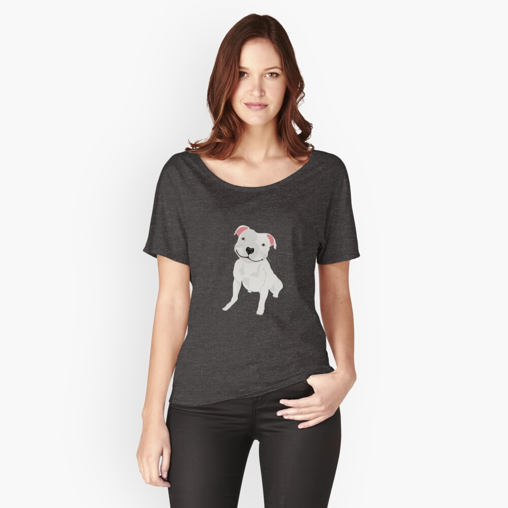 Shiny, Happy Pitbull Smiling BIG Relaxed Fit T-Shirt