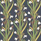 snowdrop flower pattern black by Maria Khersonets