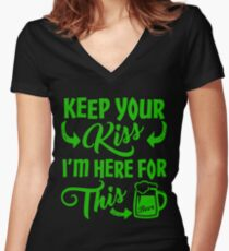 Funny St Patrick's Day Beer Drinking Humor Women's Fitted V-Neck T-Shirt