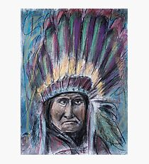 Geronimo with headdress colorful pastel Photographic Print