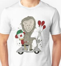 Fun Gorilla and Clown on Scooter Unisex T-Shirt