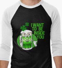 Green Beer Innuendo St Patrick's Day Men's Baseball ¾ T-Shirt