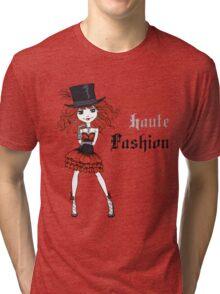 Goth girl in black dress and silk hat Tri-blend T-Shirt