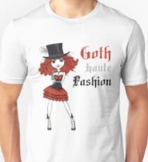 Goth girl in black dress and silk hat Unisex T-Shirt