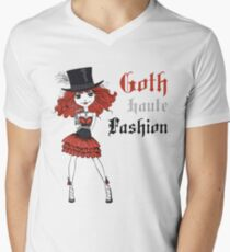 Goth girl in black dress and silk hat Men's V-Neck T-Shirt