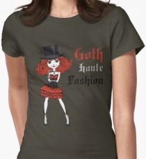 Goth girl in black dress and silk hat Womens Fitted T-Shirt