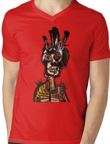 Basquiat African Skull Man Mens V-Neck T-Shirt