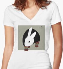 pattern rabbit Women's Fitted V-Neck T-Shirt