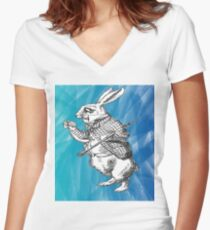 White Rabbit from Alice's Adventures in Wonderland in Blue Watercolor Background Women's Fitted V-Neck T-Shirt