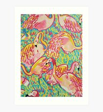 Lilly inspired Flamingos  Art Print
