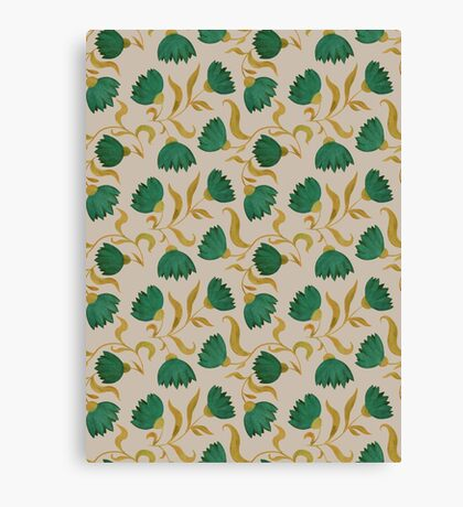pattern with green flowers Canvas Print