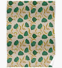 pattern with green flowers Poster