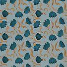 blue flower pattern dark by Maria Khersonets