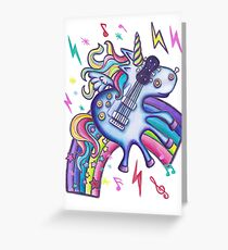 Left Handed Electric Guitar Unicorn & Rainbow - White Noise Greeting Card