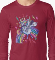 Left Handed Electric Guitar Unicorn & Rainbow - White Noise Long Sleeve T-Shirt