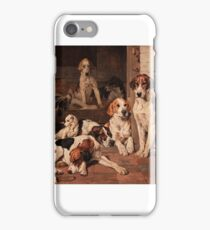 John Emms - Foxhounds and Terrier in a Stable Interior iPhone Case/Skin