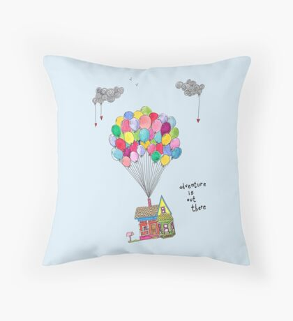 Up, Adventure is out there, travel Throw Pillow