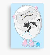Snow yeti's love kitties too Canvas Print