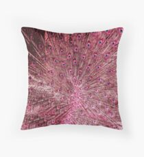 Pink Peacock Feathers Throw Pillow
