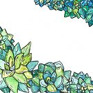 Watercolor succulents  by Ibubblesart