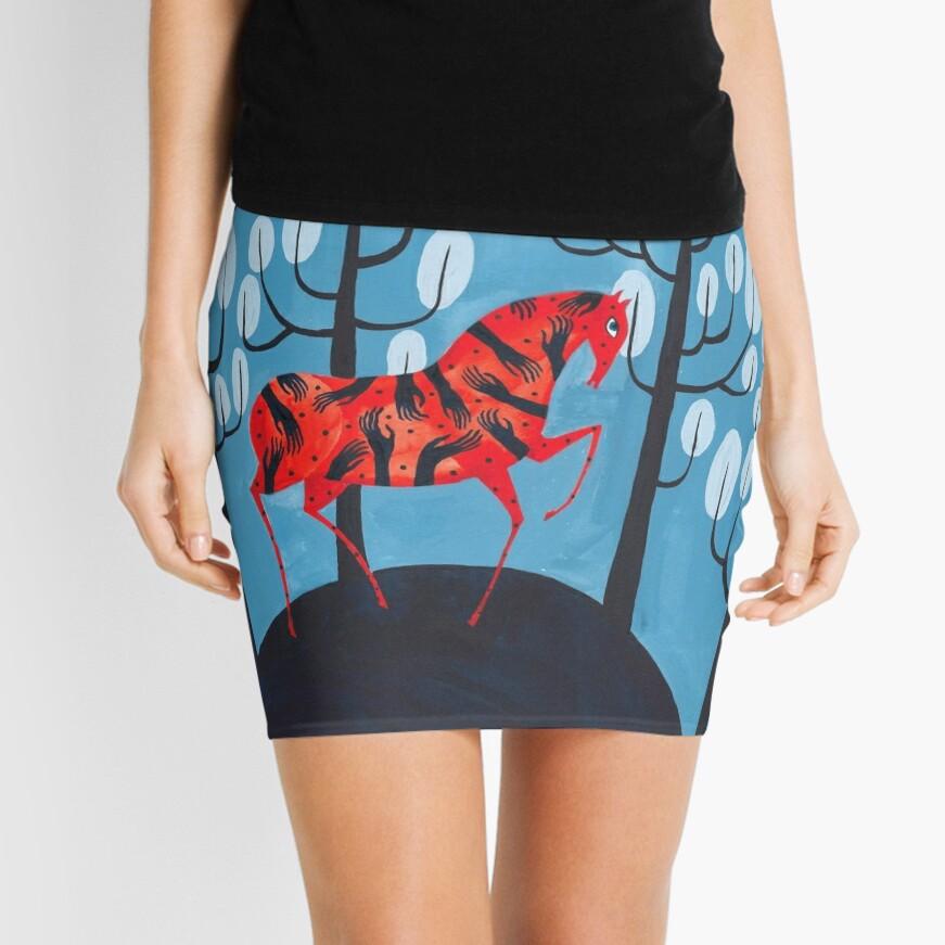 Smug red horse Mini Skirt