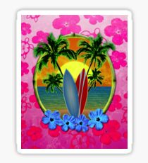 Pink Surfing Sunset Honu Sticker