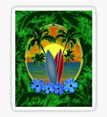Surfboard Sunset  Sticker
