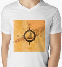 Florida Keys Map Compass Men's V-Neck T-Shirt