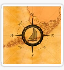 Florida Keys Map Compass Sticker