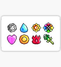 Pokemon Kanto Badges: Pixel Art Badge Set Sticker
