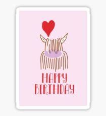Highland Cow Happy Birthday Sticker