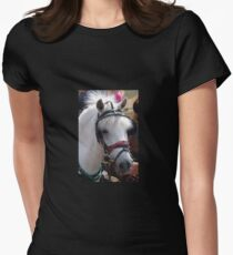 WHITE PONY WITH JAUNTY HAIR STYLE Women's Fitted T-Shirt