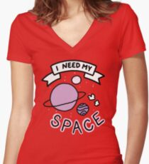 Introvert space galaxy awkward teen tumblr snapchat sticker print Women's Fitted V-Neck T-Shirt