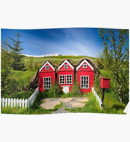 Cute red elf houses in Iceland Poster