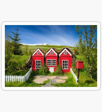 Cute red elf houses in Iceland Sticker