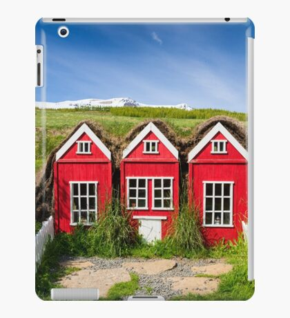 Cute red elf houses in Iceland iPad Case/Skin